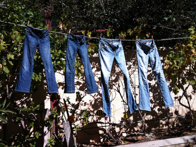 Blue jeans in a row